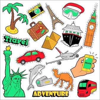 Distintivi, toppe, adesivi da viaggio di moda. architettura, avventura, crociera nel mondo in stile fumetto. illustrazione