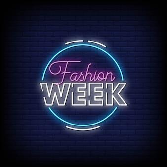 Testo di stile delle insegne al neon della settimana della moda