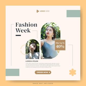 Settimana della moda per il modello di post sui social media