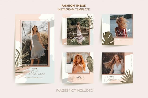 Modello di storie di instagram donna moda con foglie tropicali