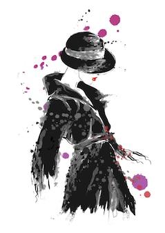 Illustrazione di stile di schizzo della donna di moda