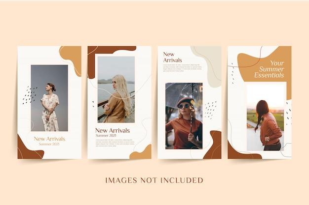 Modello di social media donna moda con sfondo colorato