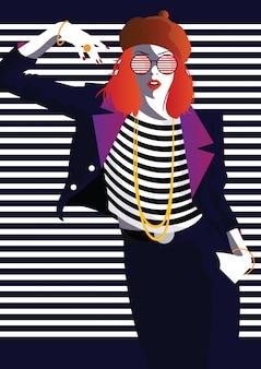 Moda donna in stile pop art. arte della moda