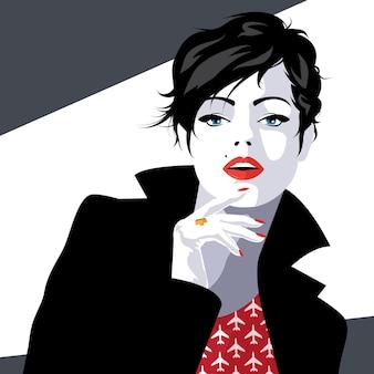 Moda donna in stile pop art. illustrazione