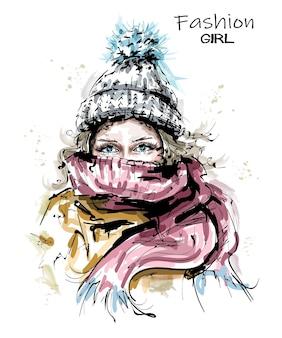 Illustrazione di sguardo di inverno della donna di modo