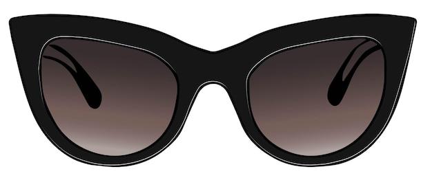 Accessori alla moda per le donne, occhiali da sole a occhi di gatto isolati per abbigliamento di lusso. occhiali protettivi con montatura in plastica e lenti scure. l'estate deve avere. vettore in stile piatto illustrazione
