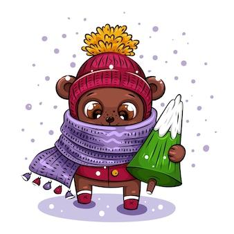 Orso alla moda con cappello lavorato a maglia e sciarpa viola porta l'albero di natale a casa. carattere natalizio