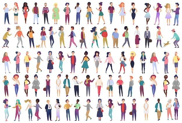 Gruppo alla moda di personaggi dei cartoni animati maschili e femminili vestiti con abiti alla moda