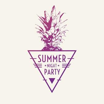 Poster moderno alla moda con ananas, festa estiva. illustrazione vettoriale.