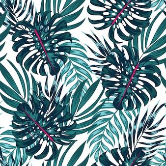 Modello tropicale senza cuciture alla moda con piante e foglie luminose su uno sfondo chiaro