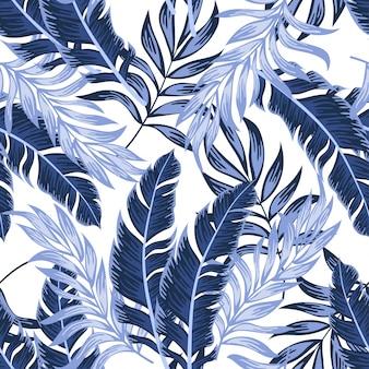 Reticolo tropicale senza giunte alla moda con piante luminose e foglie su sfondo bianco