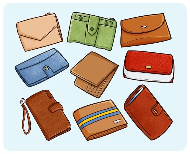 Collezione di illustrazione di portafogli alla moda in semplice stile doodle