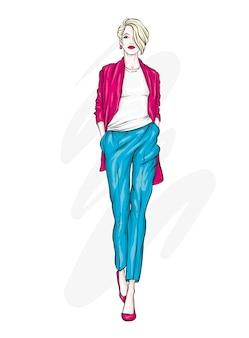 Donna alla moda. illustrazione.