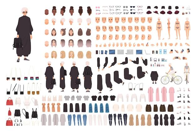 Kit costruttore di giovane donna alla moda o generatore di avatar.