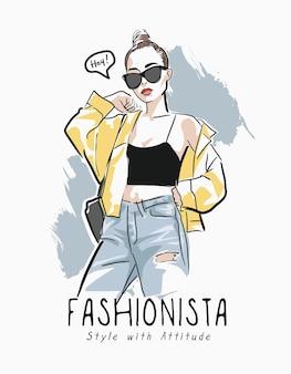 Slogan di fashionista con illustrazione disegnata a mano di moda donna