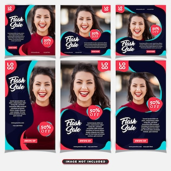 Fashionista social media post and stories template