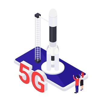 Concetto isometrico di internet veloce 5g con illustrazione vettoriale di smartphone e razzo 3d