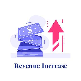 Contanti veloci, piccoli prestiti, micro prestiti, guadagni di più, strategia finanziaria, fornitura di finanziamenti, crescita dei ricavi, fondo di investimento, alto interesse, illustrazione piatta