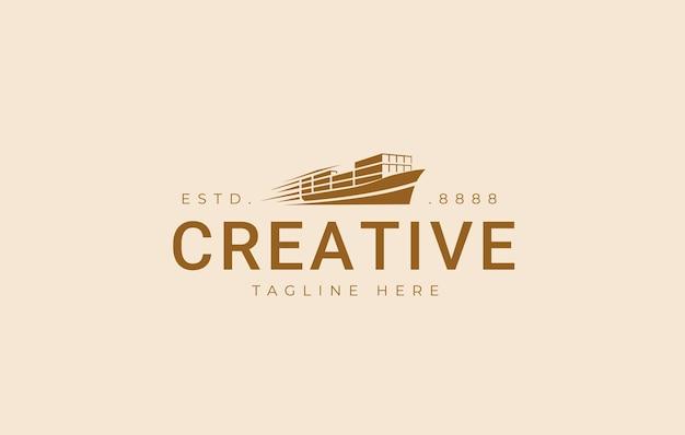 Ispirazione per il design del logo della nave portacontainer veloce