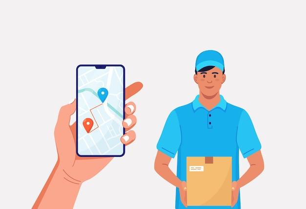 Corriere veloce con scatola di cartone. smartphone con app mobile per la consegna traccia cibo o pacchi. fattorino in uniforme