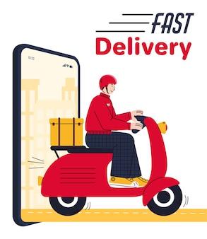 Poster pubblicitario di consegna veloce con corriere uomo su scooter