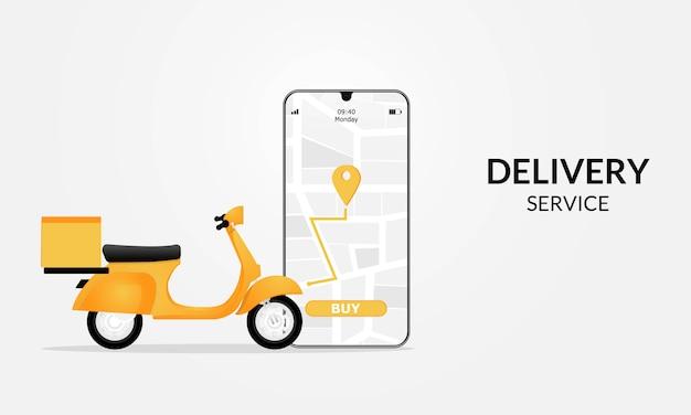 Consegna veloce in scooter su cellulare. concetto di e-commerce. ordine online di cibo o pizza e scatola di imballaggio infografica.