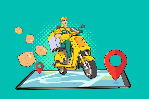 Consegna veloce in scooter tramite cellulare shopping online pop art comic style
