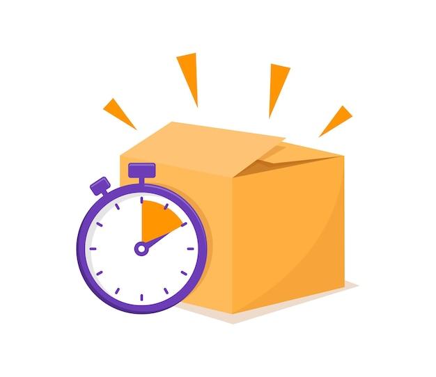 Concetto di consegna veloce con cronometro e scatola di cartone tempi di consegna