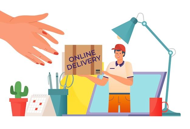 Corriere di consegna veloce con pacchetto scatola all'illustrazione del computer portatile