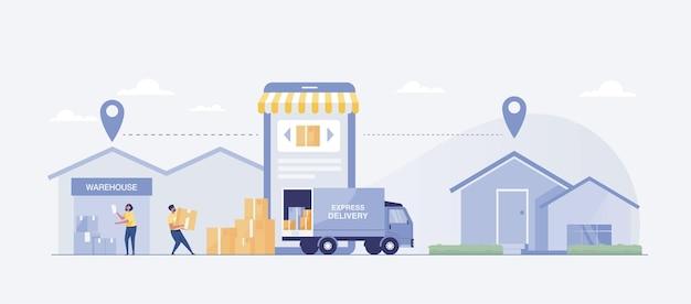 Consegna veloce dal negozio a casa con camion. illustrazione vettoriale
