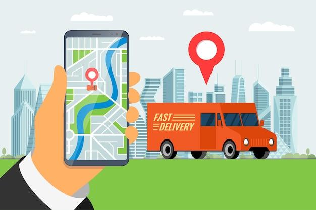 Consegna veloce camion camion servizio di ordinazione app concetto mano che tiene smartphone con geotag gps