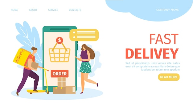 Ordine online con consegna rapida nella pagina di destinazione del servizio mobile