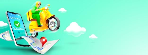 Pacchetto di consegna veloce in scooter sul cellulare. ordina il pacchetto in e-commerce per app. tracciamento del corriere tramite l'applicazione della mappa. concetto tridimensionale. illustrazione vettoriale