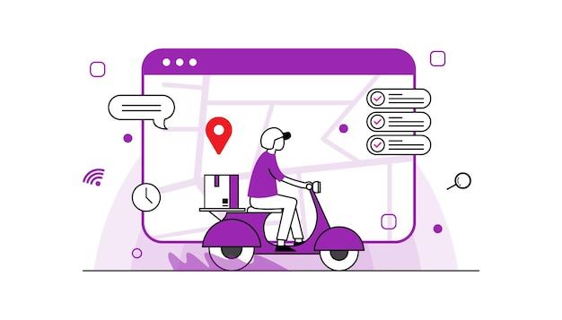 Pacchetto di consegna veloce in scooter sul cellulare ordina il pacchetto nell'e-commerce tramite app