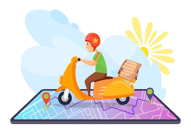 Pizza consegna veloce in scooter. concetto di e-commerce sul cellulare. ordine di cibo online in quarantena. il ragazzo con le scatole della pizza sul bagagliaio consegna il cibo velocemente.