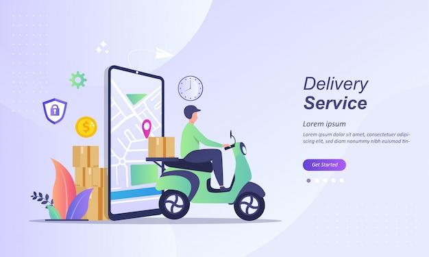 Servizio di consegna veloce con scooter invia pacco