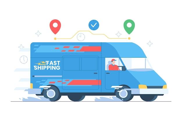Servizio di consegna veloce con illustrazione del furgone