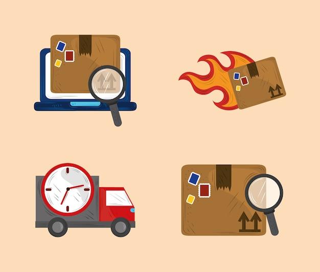Set di icone del servizio di consegna veloce illustrazione del trasporto della spedizione del carico