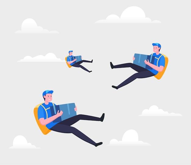 Concetto di illustrazione del servizio di consegna veloce
