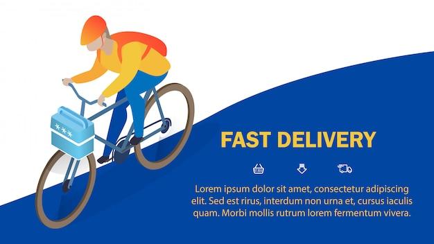 Modello di banner isometrica servizio consegna veloce