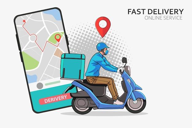 Servizio di consegna veloce scooter con corriere uomo di consegna veloce con moto pop art comic style