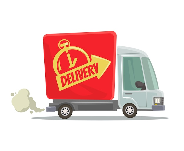Camion di consegna veloce isolato automobile rossa in movimento. vista laterale. illustrazione di cartone animato piatto
