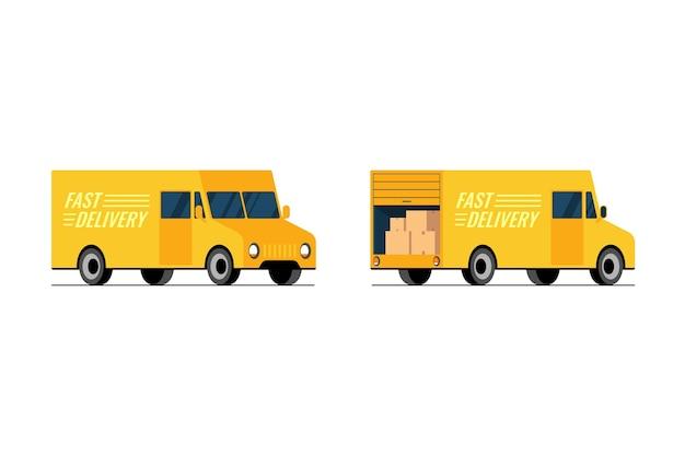 La vista anteriore e posteriore del lato del camion giallo di consegna veloce imposta il concetto di furgone del servizio di spedizione espresso