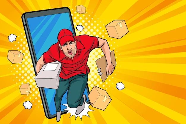 Impiegato addetto alla consegna veloce ed espresso con una scatola fuori dal telefono cellulare pop art comic style