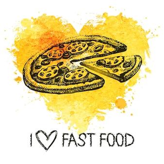Sfondo di fast food con cuore acquerello splash. illustrazione di schizzo disegnato a mano. progettazione del menu