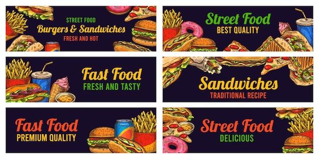 Set di banner per fast food