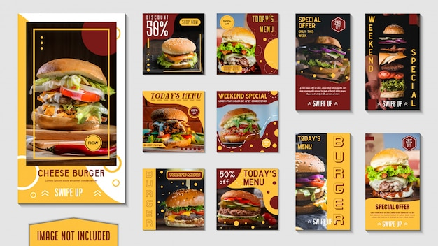 Banner di fast food Vettore Premium