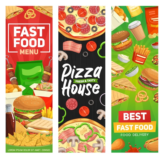 Banner di fast food, menu fastfood hamburger, pasti hamburger ristorante vettoriale, panini e bevande