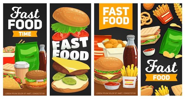 Bandiere di fast food cheeseburger, hamburger e patatine fritte con panino.