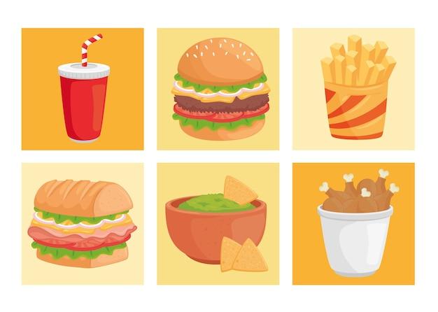 Illustrazione del pacchetto di fast food